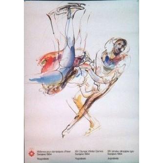SARAJEVO OLIMPIJSKE IGRE PLAKAT UMJETNIČKO KLIZANJE : SARAJEVO OLYMPIC GAMES VINTAGE POSTER FIGURE SKATING